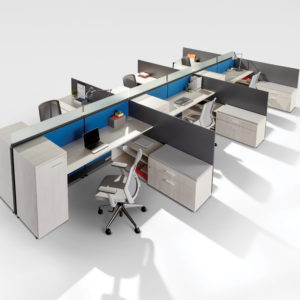 Workstations with Tall Filing Storage